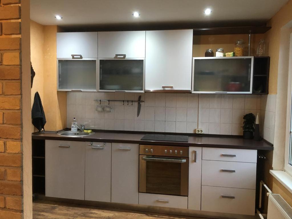 Virtuve vai virtuves aprīkojums naktsmītnē Family apartament