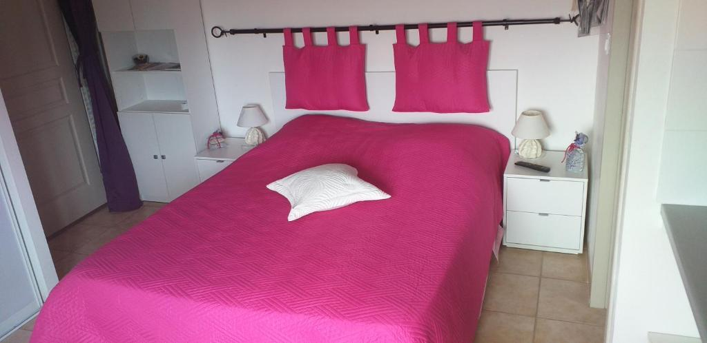 A bed or beds in a room at Chambre du Raisin