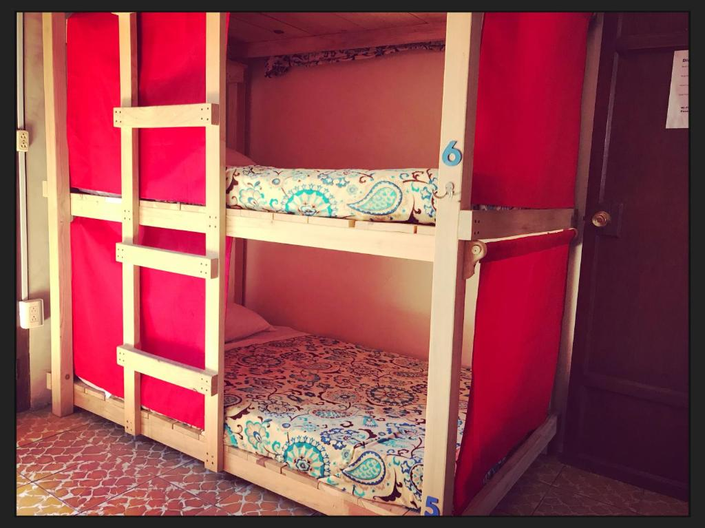 A bunk bed or bunk beds in a room at Hostal Seis 7