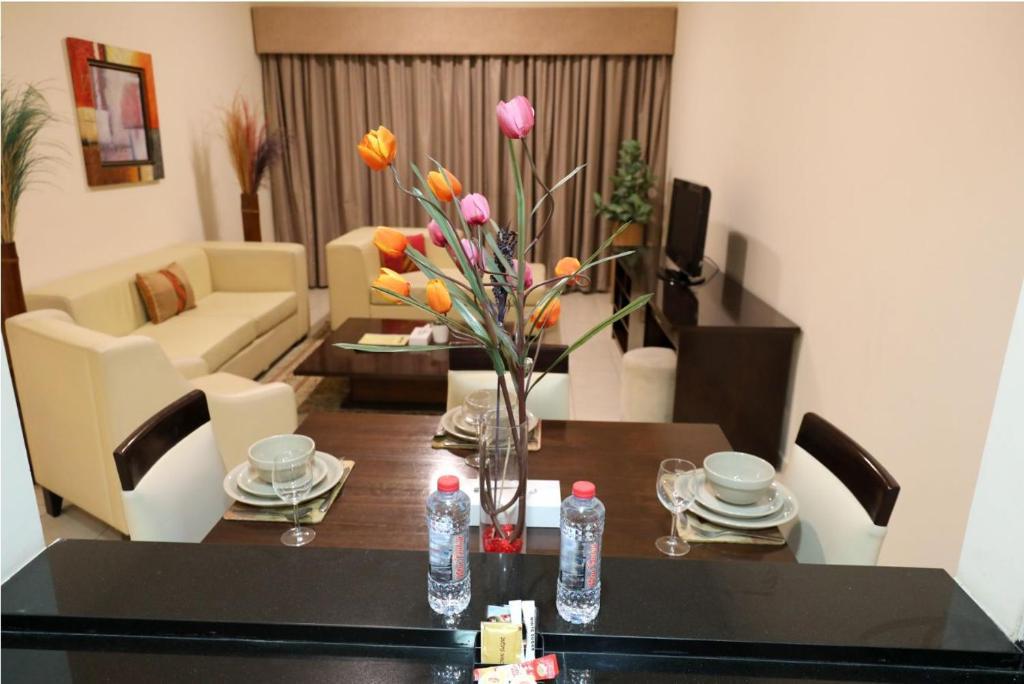 Área de jantar no aparthotel