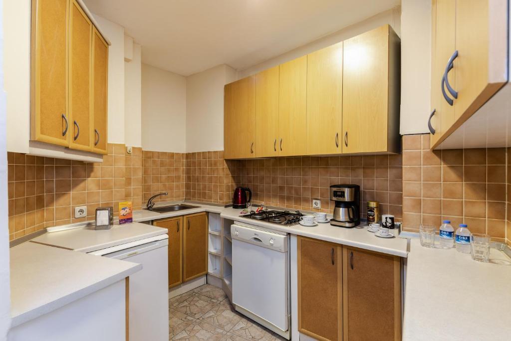 Кухня или мини-кухня в Sanat Hostel Taksim
