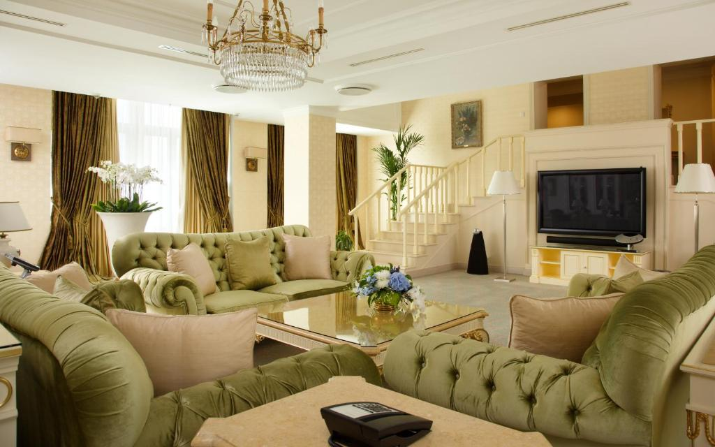 A seating area at Radisson Collection Hotel Moscow