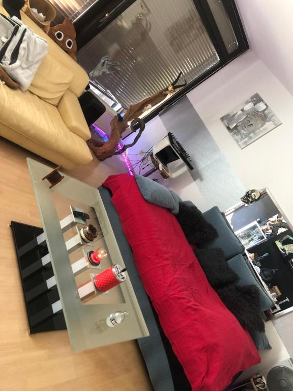 Ein Sitzbereich in der Unterkunft 2 Zimmer Wohnung mit XXXL Terasse