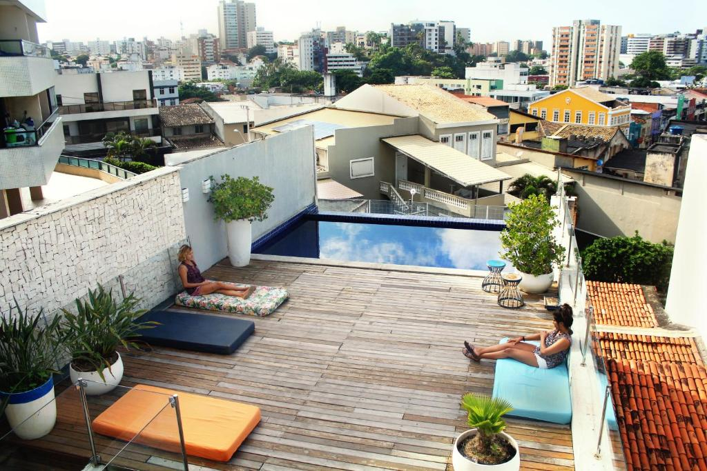 A view of the pool at The Hostel Salvador or nearby