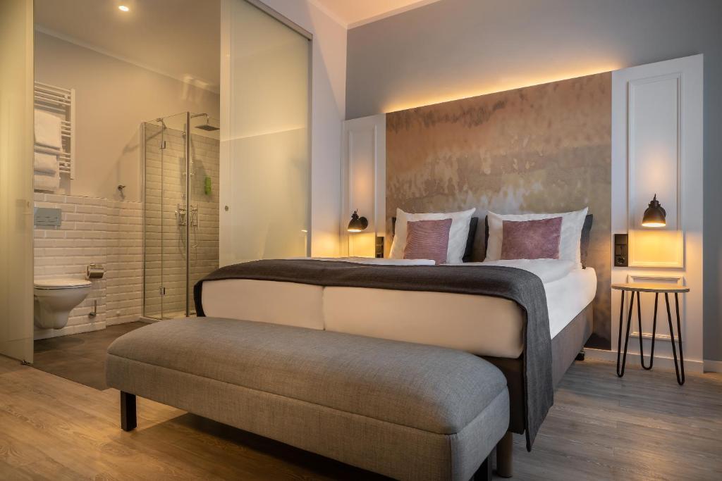 מיטה או מיטות בחדר ב-Hotel Franke