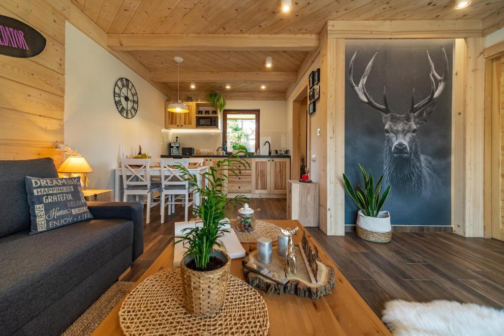 Posezení v ubytování Apartament Leśny