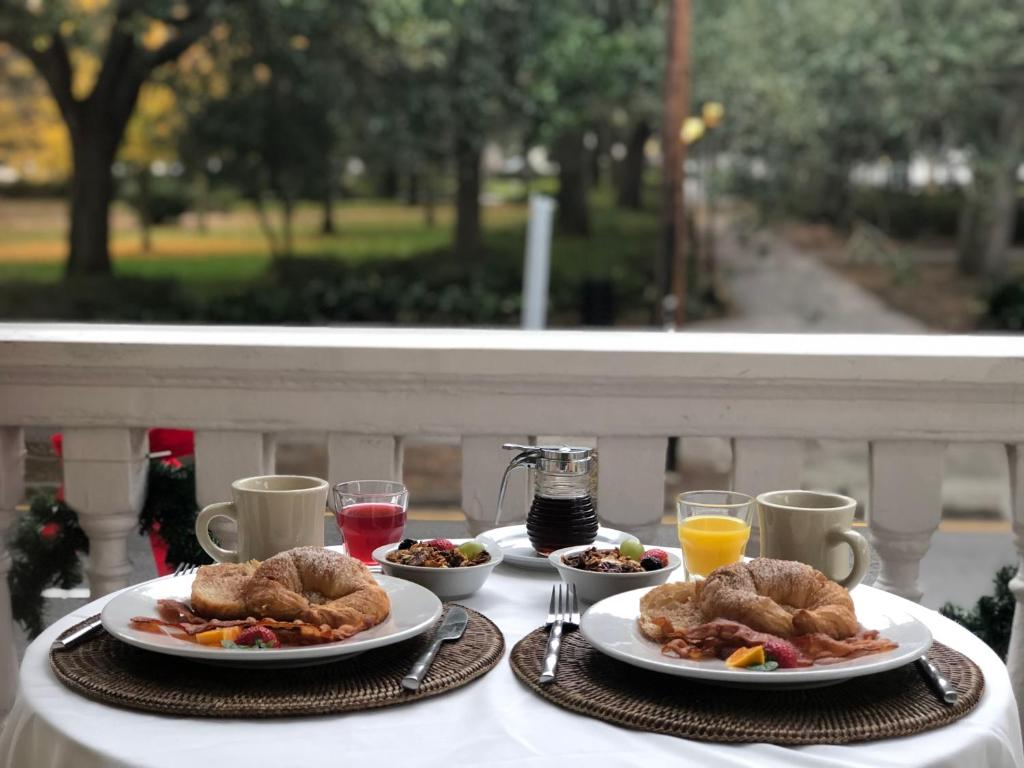 Breakfast options available to guests at Forsyth Park Inn