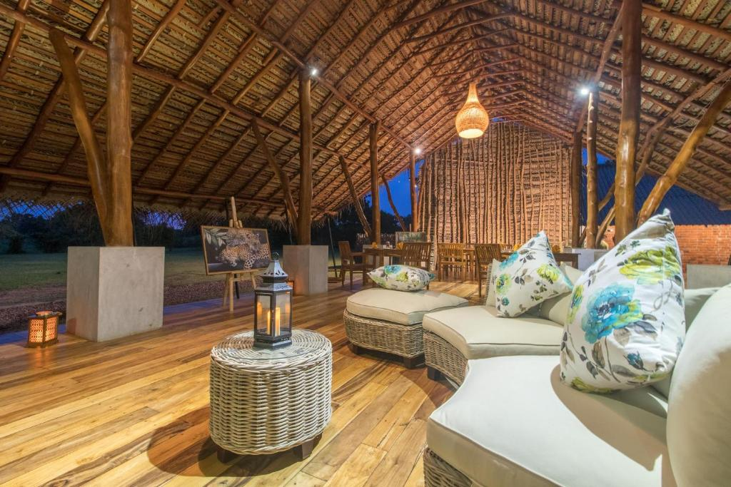 A seating area at Thamaravila Wilpattu - Luxury Tented Safari Villas