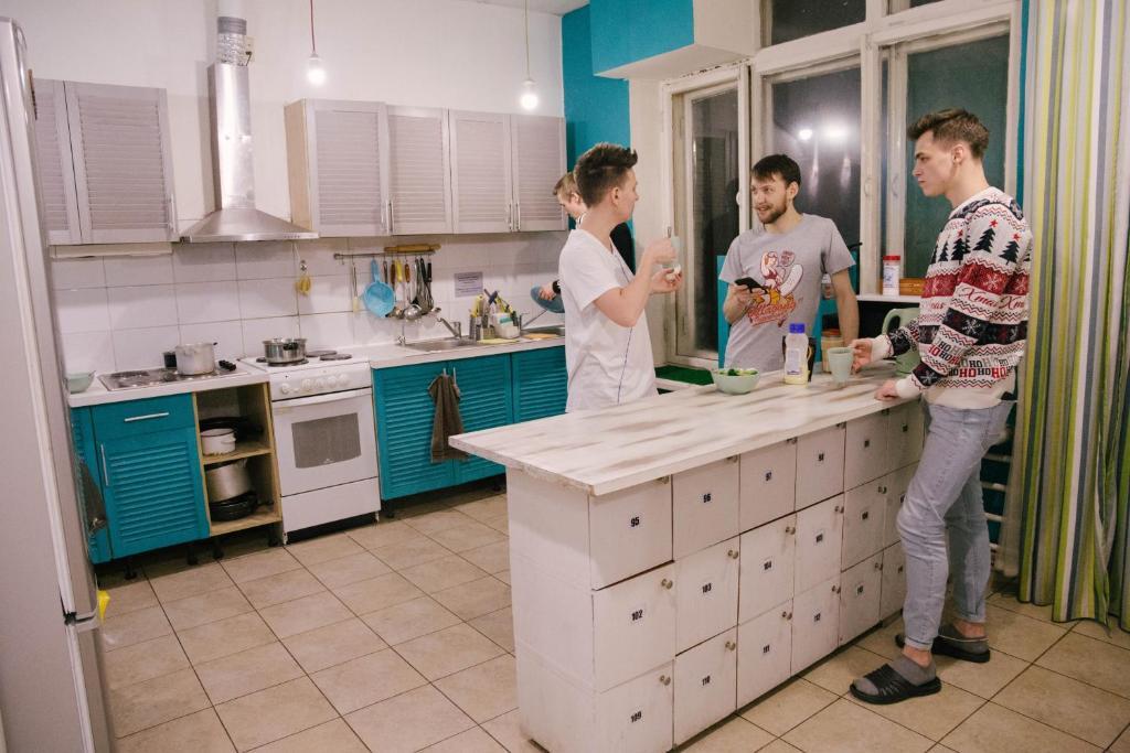 Кухня или мини-кухня в Capsule Hostel Yes