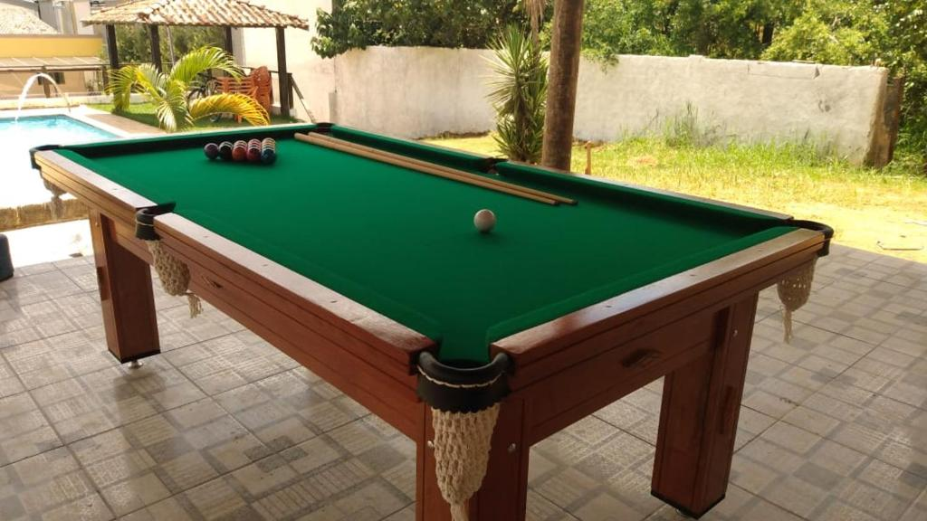 A pool table at chácara