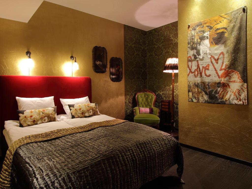 Cama ou camas em um quarto em Skanstulls Hostel