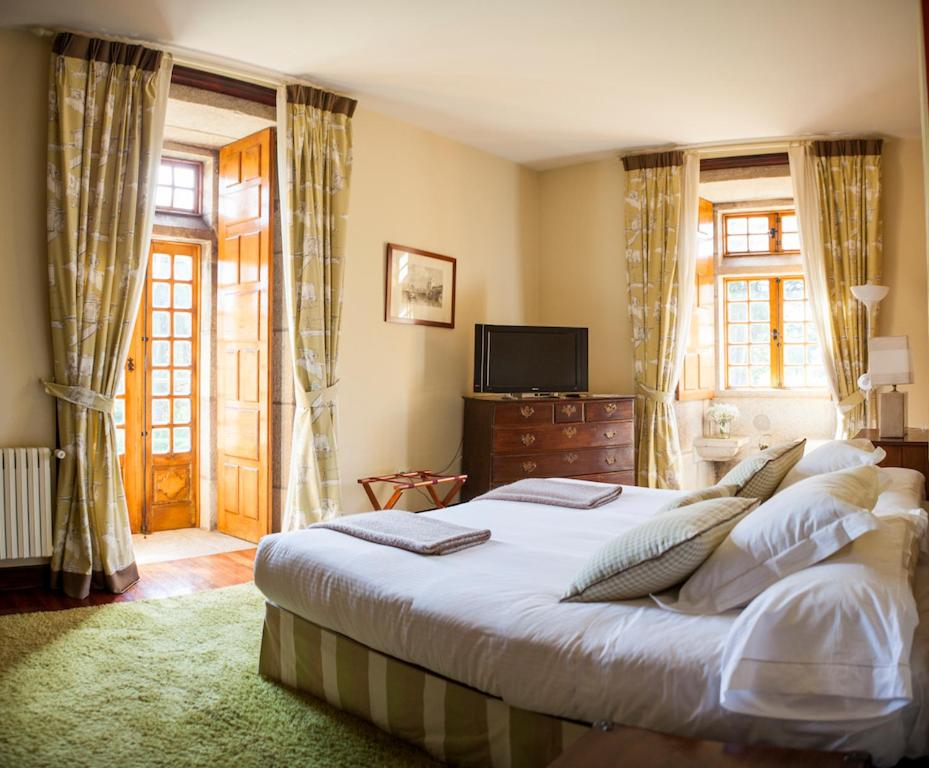 Cama o camas de una habitación en Pazo da Touza