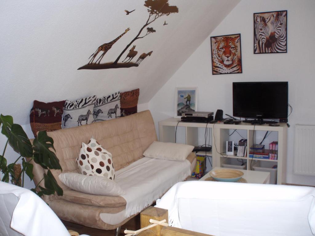 Ein Sitzbereich in der Unterkunft Ferienhaus Deubetal