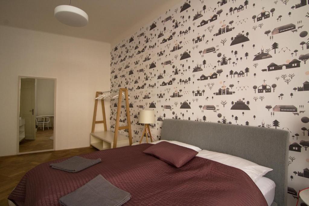 Un ou plusieurs lits dans un hébergement de l'établissement Best Place in Prague