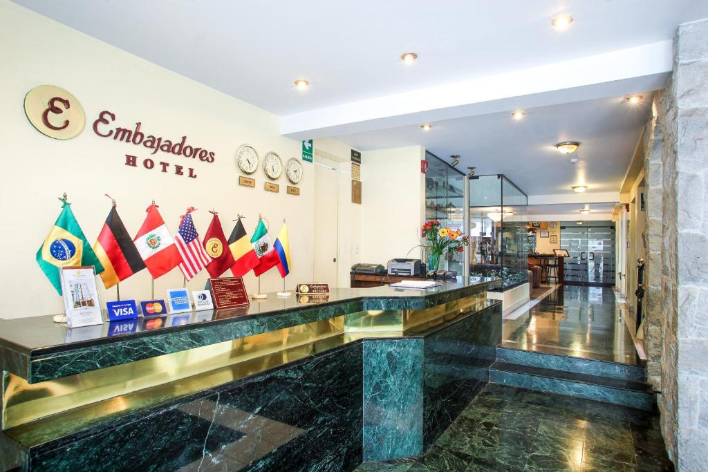 The lobby or reception area at Embajadores Hotel