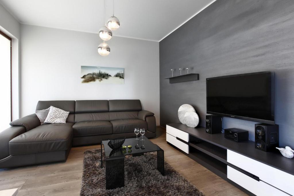 A seating area at Apartament Z Ogrodkiem Nowe Orlowo