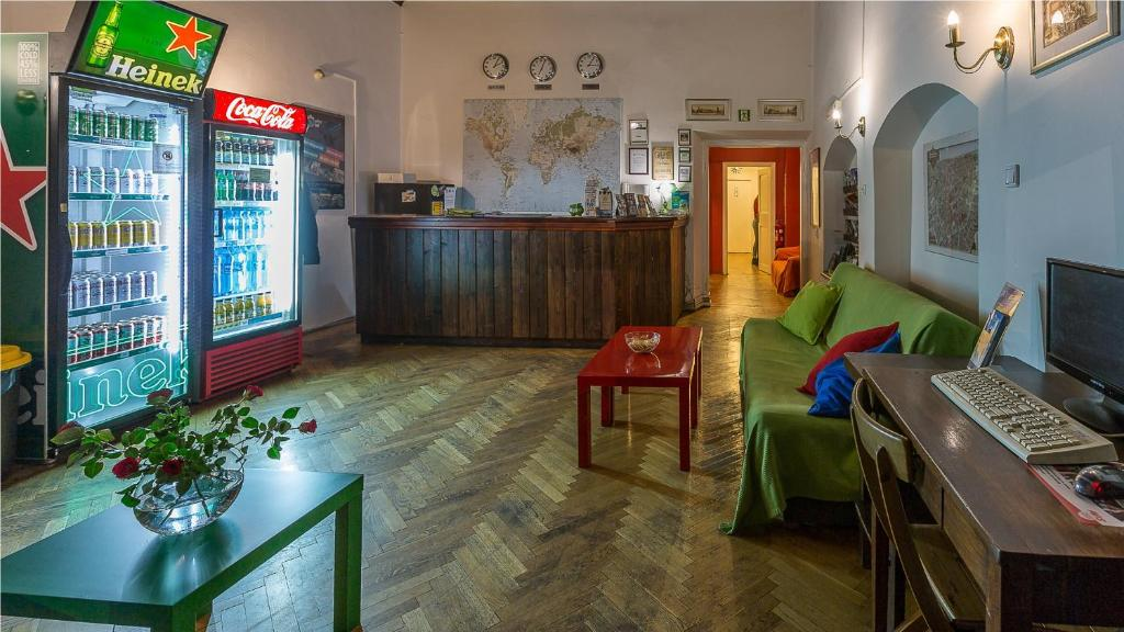 The lobby or reception area at Cracow Hostel