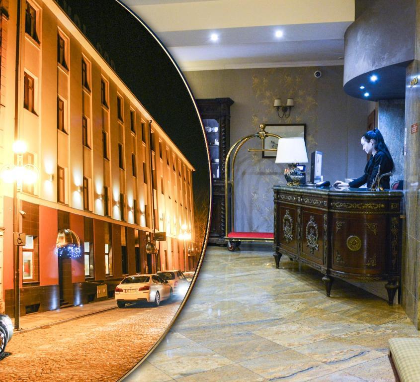 Vestibiulis arba registratūra apgyvendinimo įstaigoje Komoda Club Residence