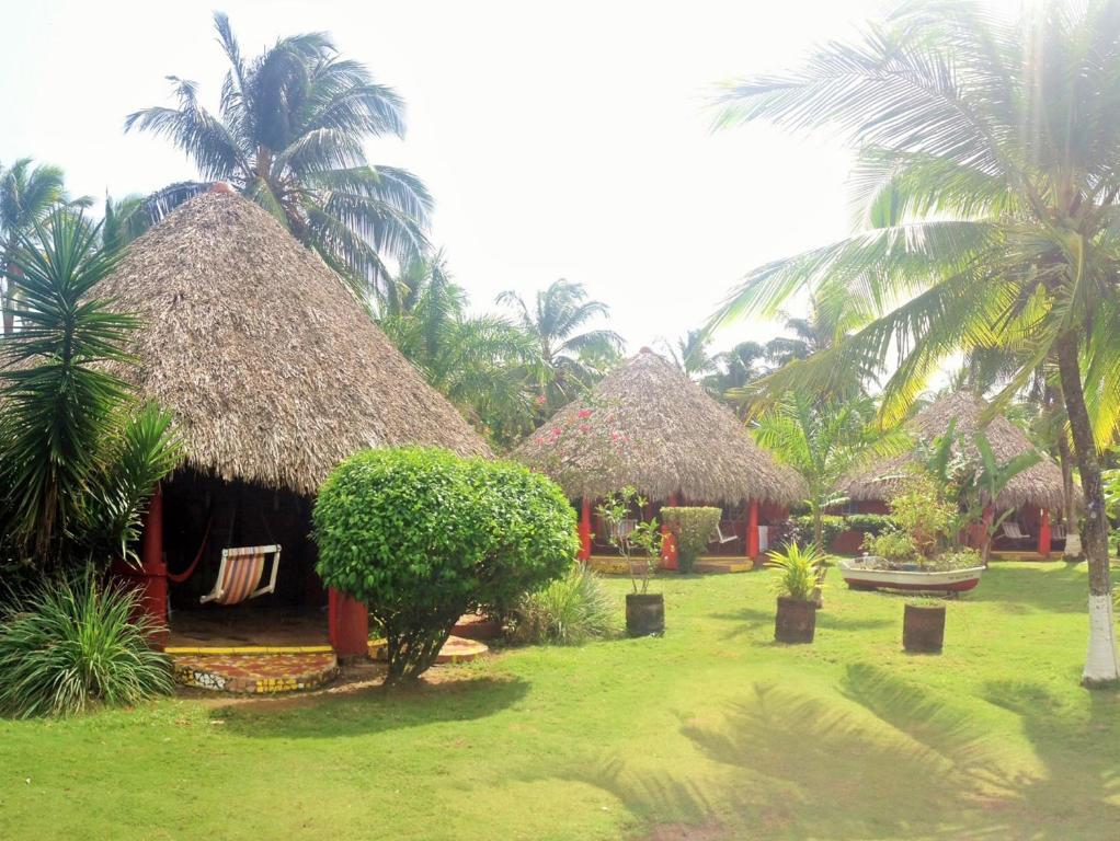A garden outside Paraiso Beach Hotel