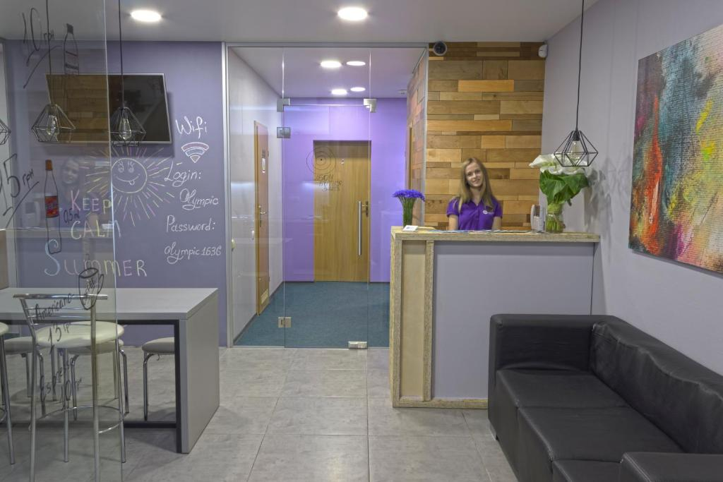 The lobby or reception area at Yak Olympic Hostel