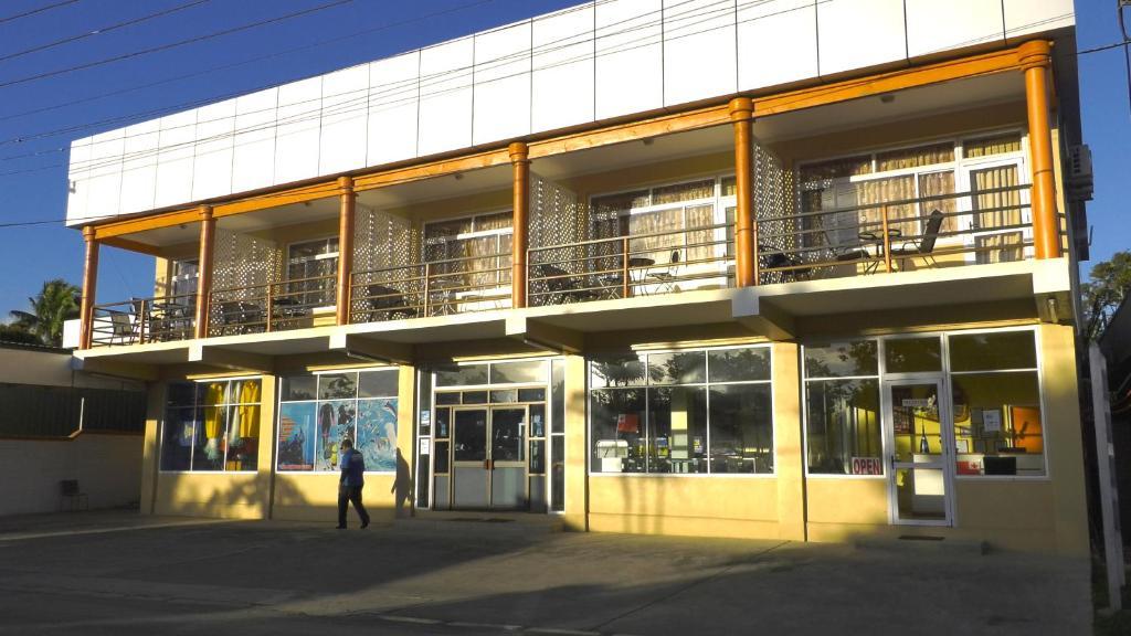 The facade or entrance of JeZami Hotel Tonga