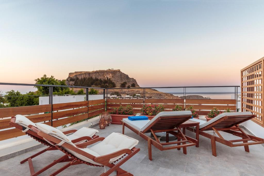 A porch or other outdoor area at Lindos Aqua Luxury Villa