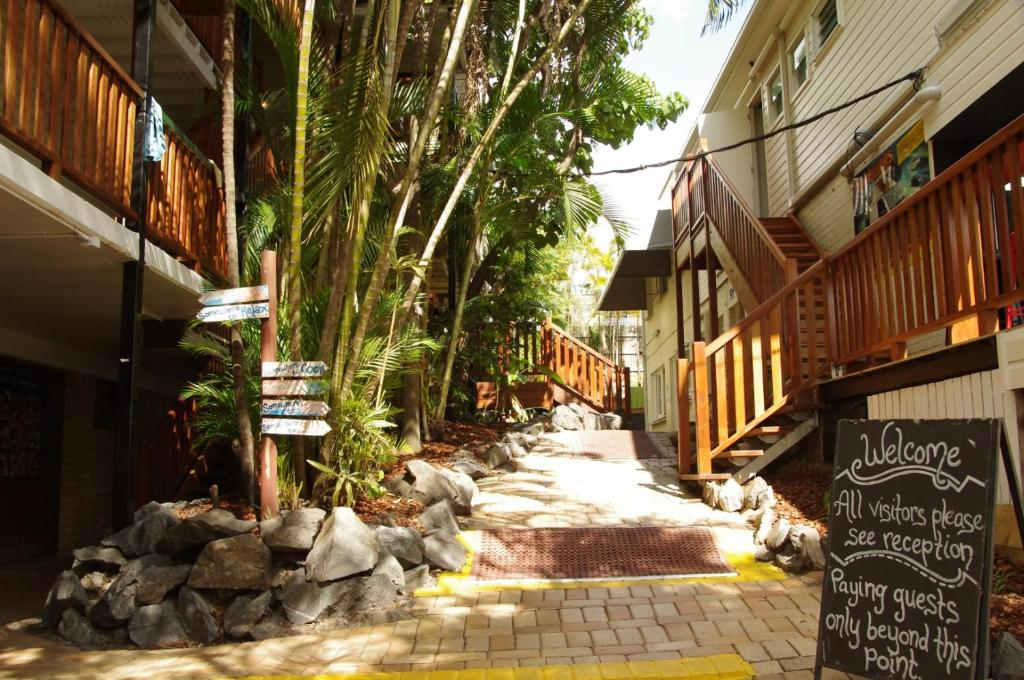 A porch or other outdoor area at Somewheretostay Backpackers