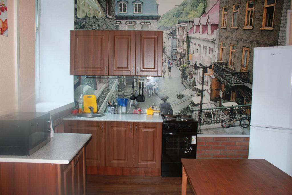 A kitchen or kitchenette at Hostel Uytnyi