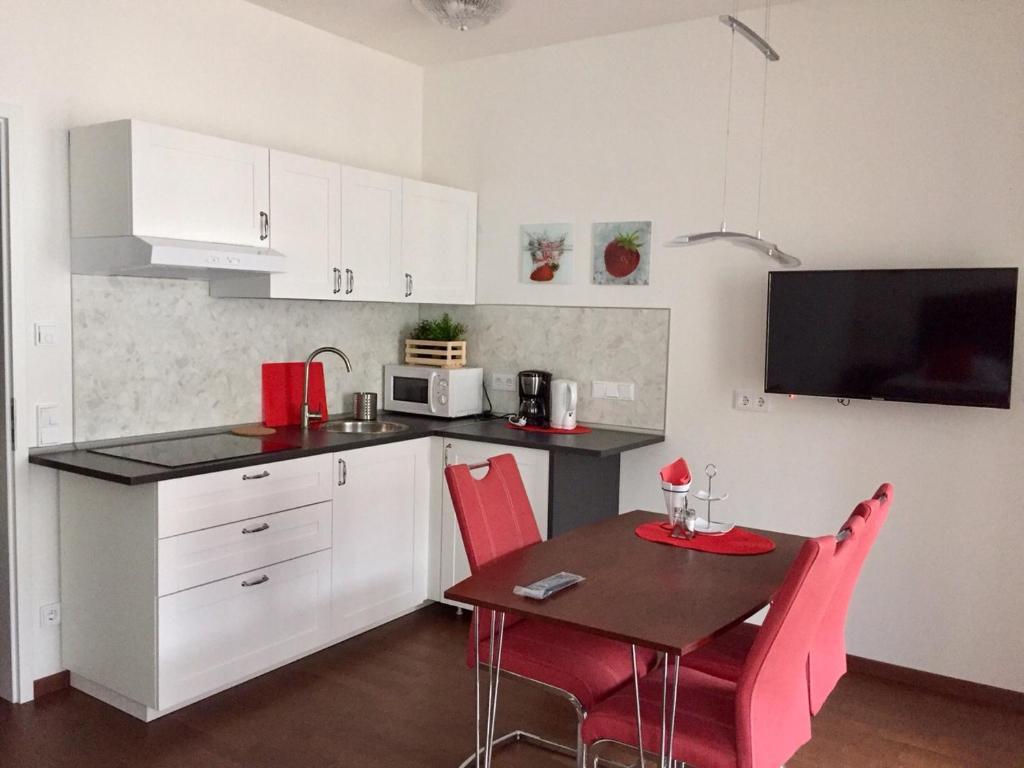 Küche/Küchenzeile in der Unterkunft Apartment am Zwingerteich