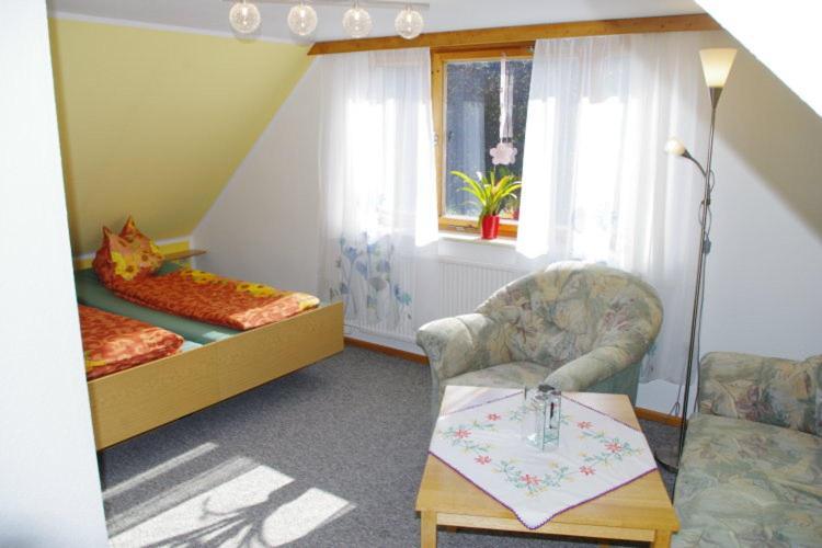 """Ein Sitzbereich in der Unterkunft Ferienwohnung """"Bergidyll"""""""