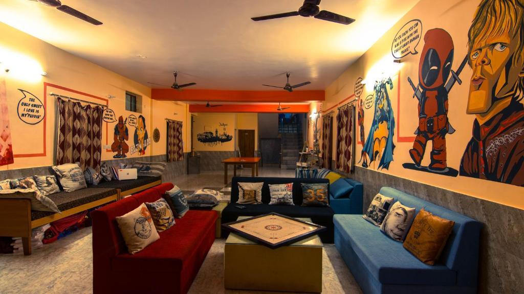 A seating area at Global hostel Jodhpur