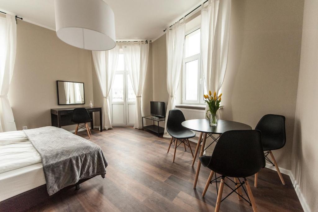 Svetainės erdvė apgyvendinimo įstaigoje Vistula Apartments