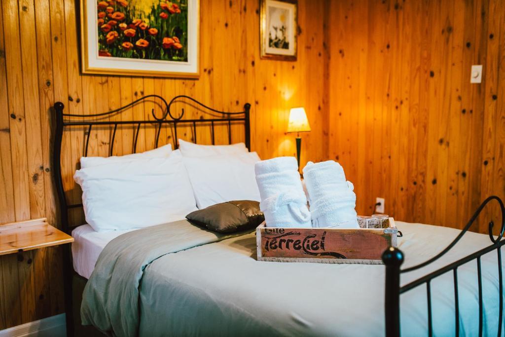 Giường trong phòng chung tại Gîte TerreCiel