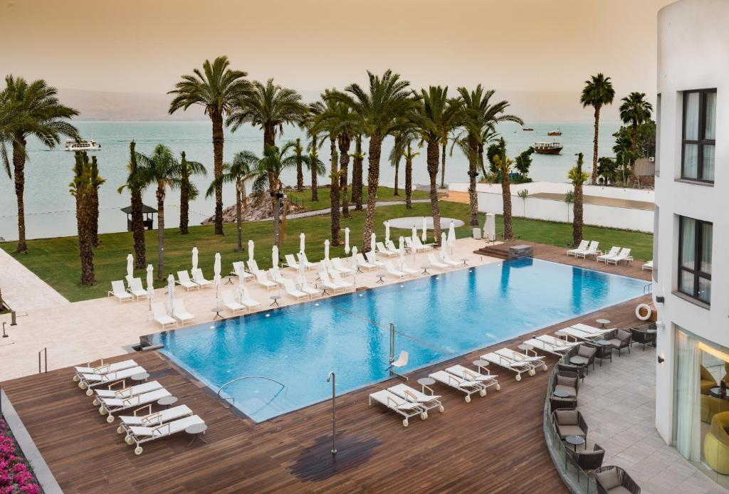A view of the pool at U Boutique Kinneret by the Sea of Galilee or nearby