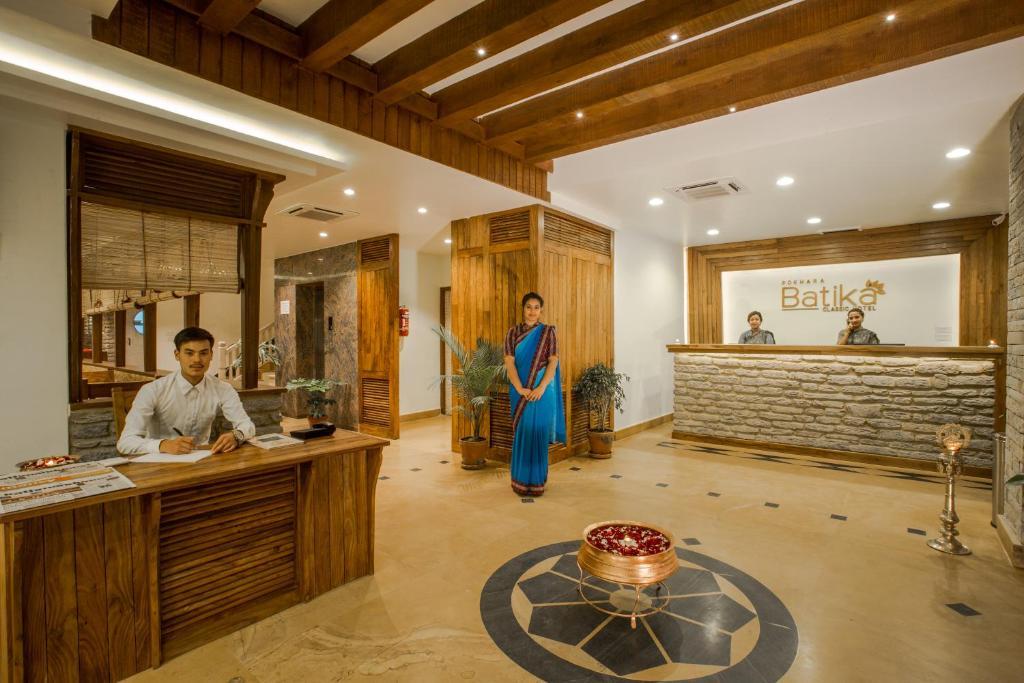 The lobby or reception area at Pokhara Batika