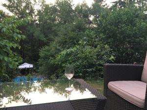 Ein Blick auf den Pool von der Unterkunft Ferienwohnung am Aschbacherhof oder aus der Nähe