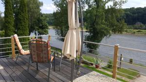Ein Balkon oder eine Terrasse in der Unterkunft Ferienwohnung Oberposta