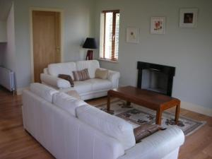 A seating area at Letterfrack Farm Lodge