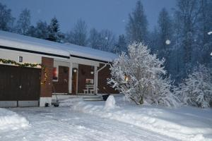 House Olkka by the river during the winter