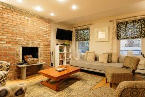A seating area at East Village Apartments