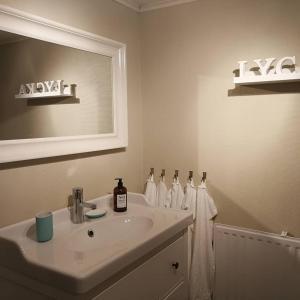 Ett badrum på Bjärkeryd Södergård Bed & Stable