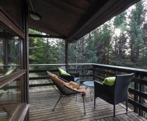 A balcony or terrace at Lovely Cabin Close to the Blue Lagoon