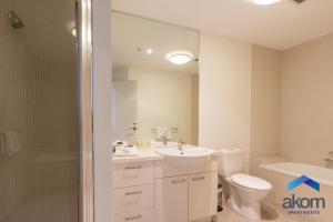 A bathroom at AKOM Docklands