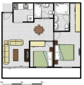 The floor plan of Porto de Iracema Apartment 2 Quartos/ 2 Bedrooms)