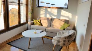Ein Sitzbereich in der Unterkunft Ferienhaus Moritz