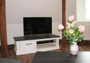 """A television and/or entertainment center at Ferienwohnung """"Am Stadtpark"""""""