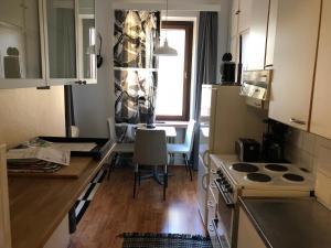 A kitchen or kitchenette at Cozy studio in Helsinki City Center