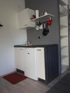 A kitchen or kitchenette at Studio Apartman Splash