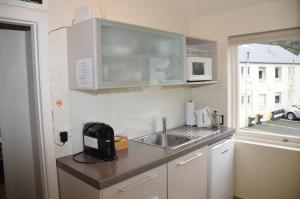 A kitchen or kitchenette at Akaroa Central Apartment