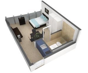 The floor plan of HITrental Allmend Standard Studios